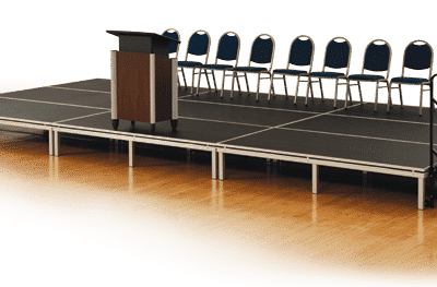 portable stage rental for concert band sermons graduation