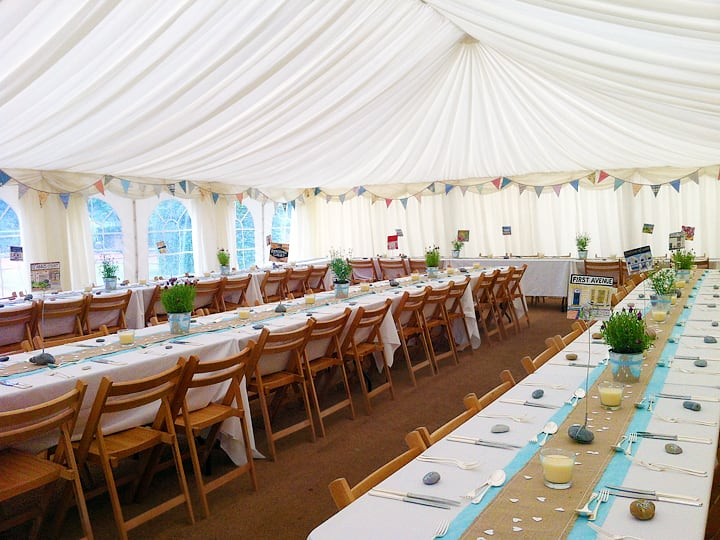 draped clearspan tent for elegant birthday