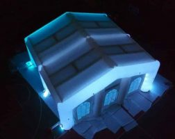 top view glowing wedding tent